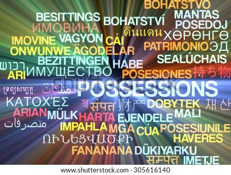 Background concept wordcloud multilanguage international many language illustration of possessions glowing light - stock photo