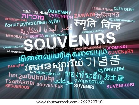 Background concept wordcloud multilanguage international many language illustration of souvenirs glowing light - stock photo