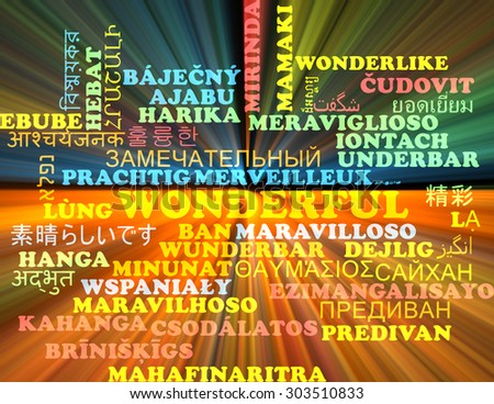 Background concept wordcloud multilanguage international many language illustration of wonderful glowing light