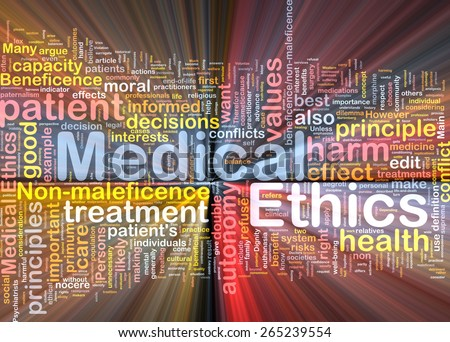 Background concept wordcloud of medical ethics glowing light - stock photo