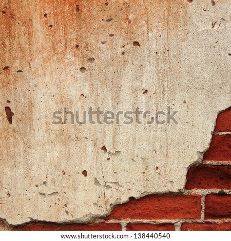 Background cracked concrete brick wall - stock photo