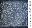 Background denim texture with lace pattern - stock photo