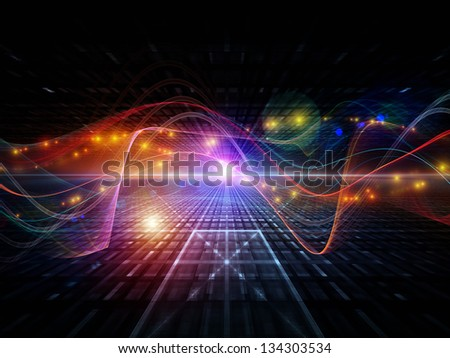 Background design of abstract sine waves and design elements on the subject of modern computing, virtual reality and signal processing