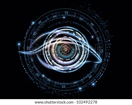 Background design of eye outlines, fractal and abstract design elements on the subject of modern technologies, mechanical progress, artificial intelligence, virtual reality and digital imaging - stock photo
