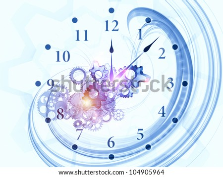 Background design of gears, clock elements, dials and dynamic swirly lines on the subject of scheduling, temporal and time related processes, deadlines, progress, past, present and future - stock photo