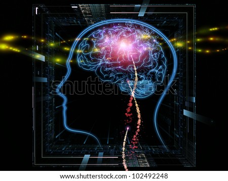 Background design of head outlines, lights and abstract design elements on the subject of intelligence,  consciousness, logical thinking, mental processes and brain power - stock photo