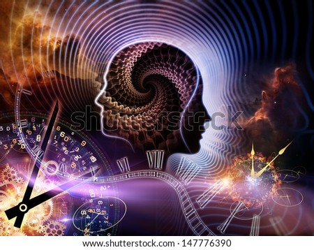 Background design of human feature lines and symbolic elements on the subject of human mind, consciousness, imagination, science and creativity