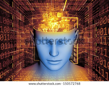 Background design of human head and symbolic elements on the subject of human mind, consciousness, imagination, science and creativity - stock photo