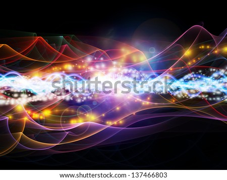 Background design of lights, fractal and custom design elements on the subject of network, technology and motion