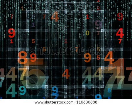 Background design of numbers and design elements on the subject of computers, science, math and modern technology - stock photo