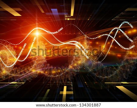 Background design of technological elements and directional abstract forms on the subject of science, virtual technologies and telecommunications