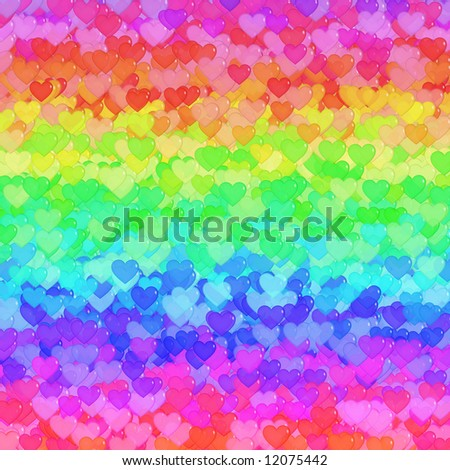 Background design with lots of transparent hearts in green, orange, yellow, red, purple, pink and blue - stock photo