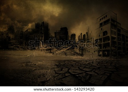 Background destroyed city after a disaster