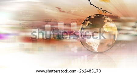Background digital image with Earth planet and graphs