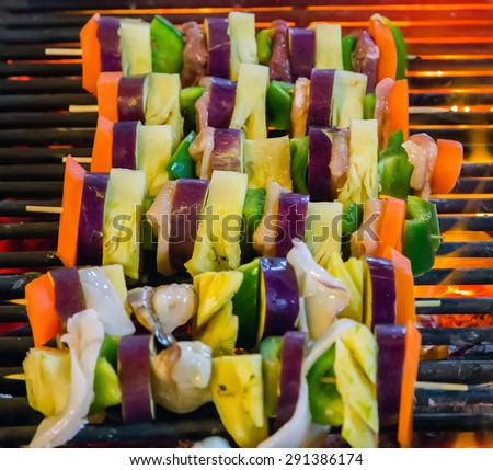Background eat Barbecue Grill Vegetable. - stock photo