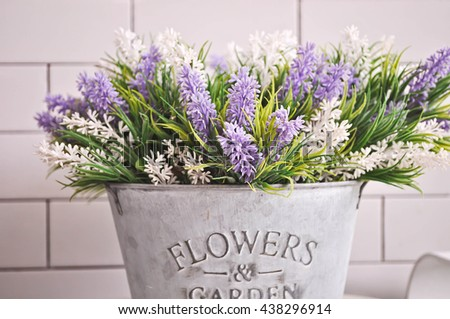 Background fake lavender flower beautiful .  Lavender flower purple and white for decorate your home. And,  for background work to you. - stock photo