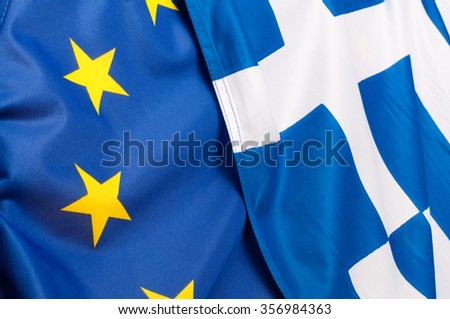 Background - Flags of European Union and Greece