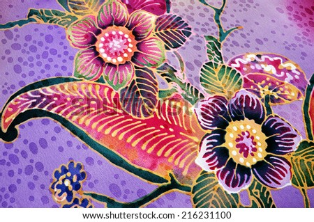 background floral batik - stock photo