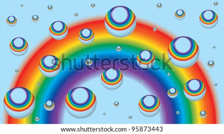Background for a business card with a rainbow and drops