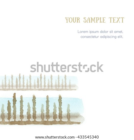 Background for book design, advertising module, corporate identity, business card. On the basis of watercolor sketches of grass, algae and trees. - stock photo