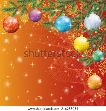 Background for Christmas holiday design, spruce branches, balls and stars.