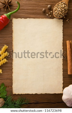 background for cooking recipes and spices on wooden table - stock photo