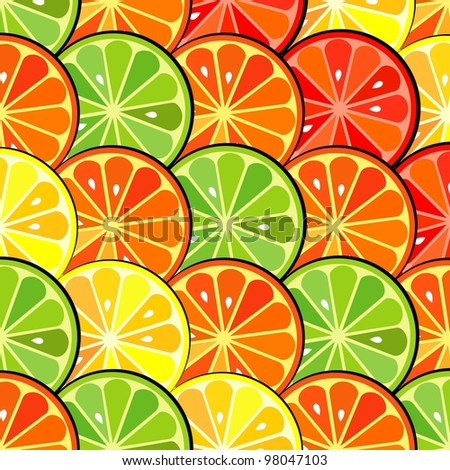 background for design with fruits of an orange, a lemon, grapefruit and Lima