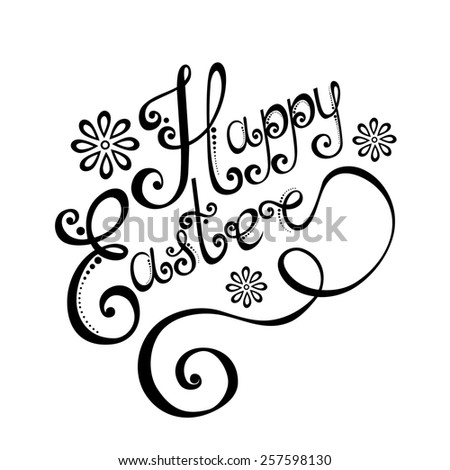 Background for Easter, Holiday Lettering. Hand Drawing Patterned Design - stock photo
