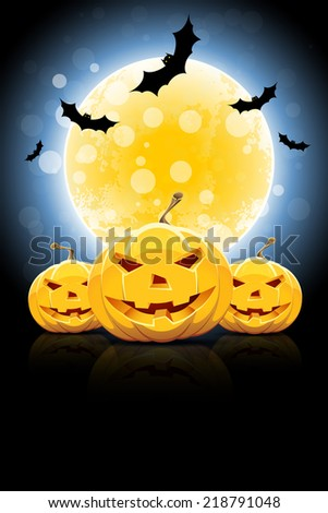 Background for Halloween Party with Moon, Pumpkins and Bats - stock photo