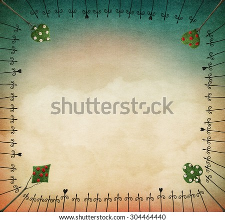 Background for illustration or postcard with iron frame and trees - stock photo
