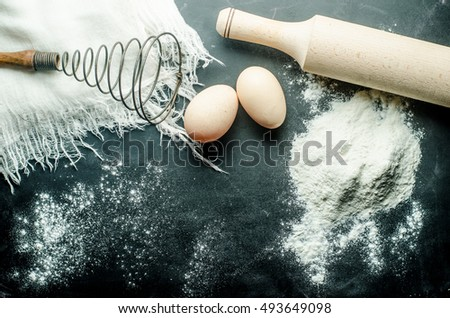 background for menus, flour eggs