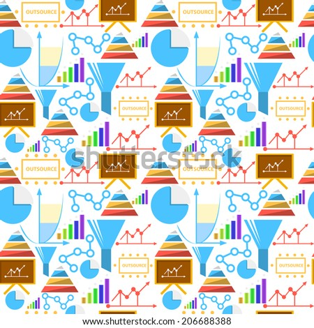 Background for outsource. Seamless pattern with colored outsource symbols on white background. - stock photo