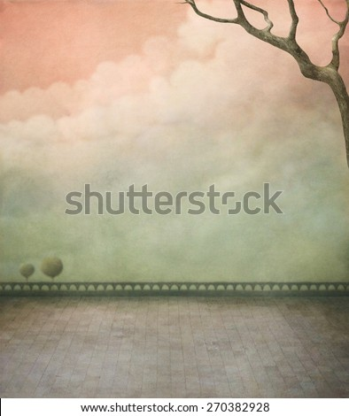 Background for poster or illustration with branch - stock photo
