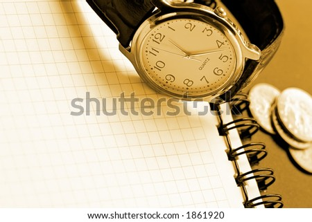 Background for the design, displaying direct interrelation of time and money of the businessman