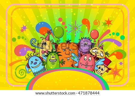 Background for Your Holiday Party Design with Different Cartoon Monsters, Colorful Illustration with Cute Funny Characters