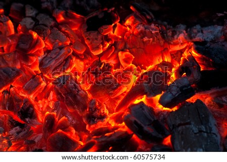 background from a fire, conflagrant firewoods and coals - stock photo