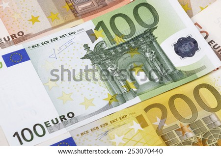 Background from a lot of  banknotes. European Union Currency. - stock photo