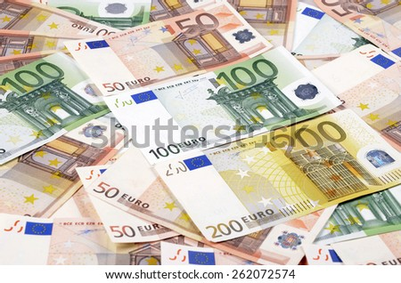 Background from a lot of euro banknotes. European Union Currency. - stock photo