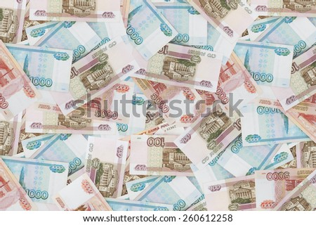 Background from a variety of Russian banknotes.
