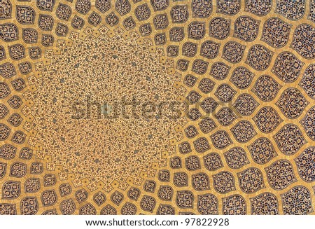Background from arabesque design inside dome of a mosque in Isfahan, Iran. - stock photo
