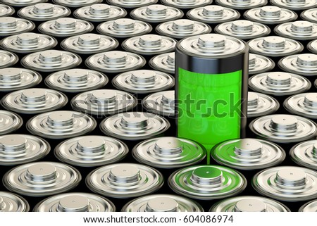 Background from batteries, electrical energy and power supply source concept. 3D rendering