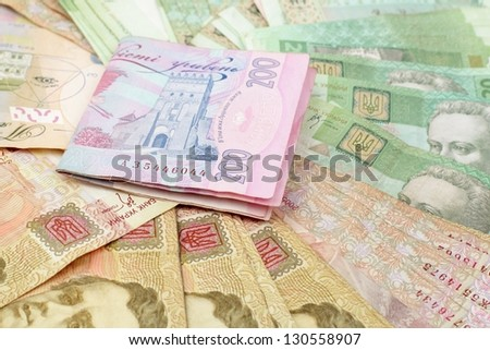 Background from colored banknotes/200 UAH