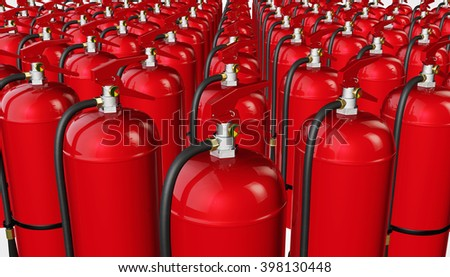 Background from fire extinguishers. 3D rendering