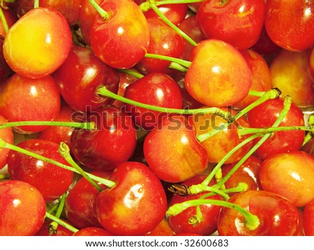 background from fresh, red cherry