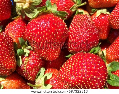Background from fresh strawberries, summer delicious food