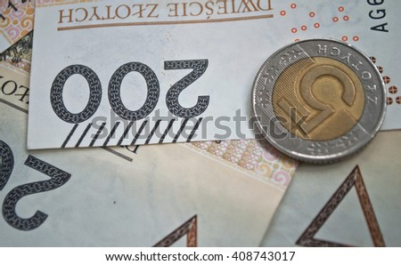 Background from 200 polish zloty and coins
