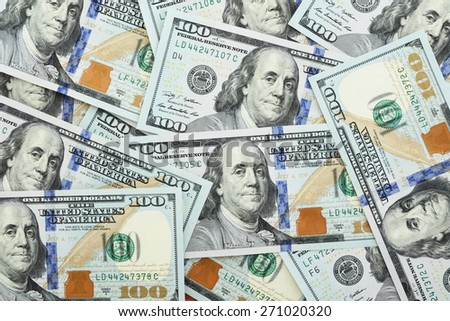 Background from recent one hundred dollars - stock photo
