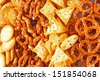 Background from salted fresh pretzels - stock photo