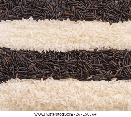 Background from strips of black and white rice