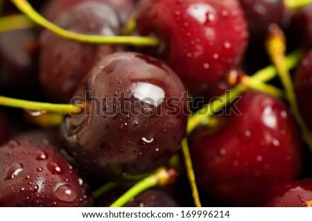Background from sweet fresh wet  red cherry, macro image - stock photo